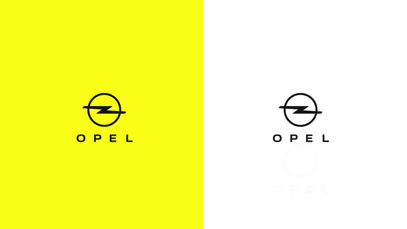 Opel, нова емблема, жовтий табілий фон