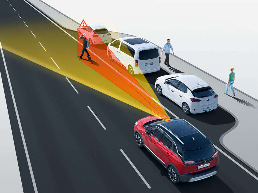 Opel Crossland, система попередження про зіткнення таекстреного гальмування